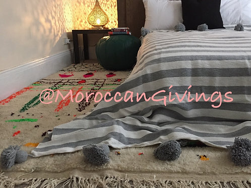 Moroccan Handwoven Pom Pom Blanket ( PB051)