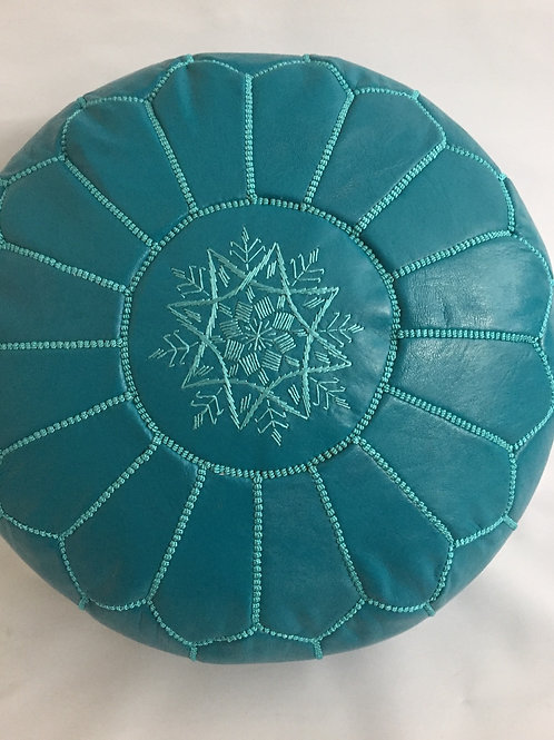 Leather Turquoise Pouffe (P428)