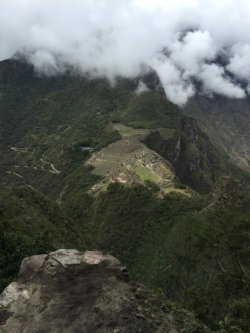 The sensational view from the top of Wayna Picchu looking over Machu Picchu.