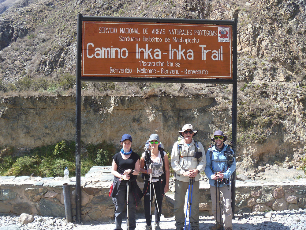 The beginning of the Inca Trail at Piscacucho KM 82.