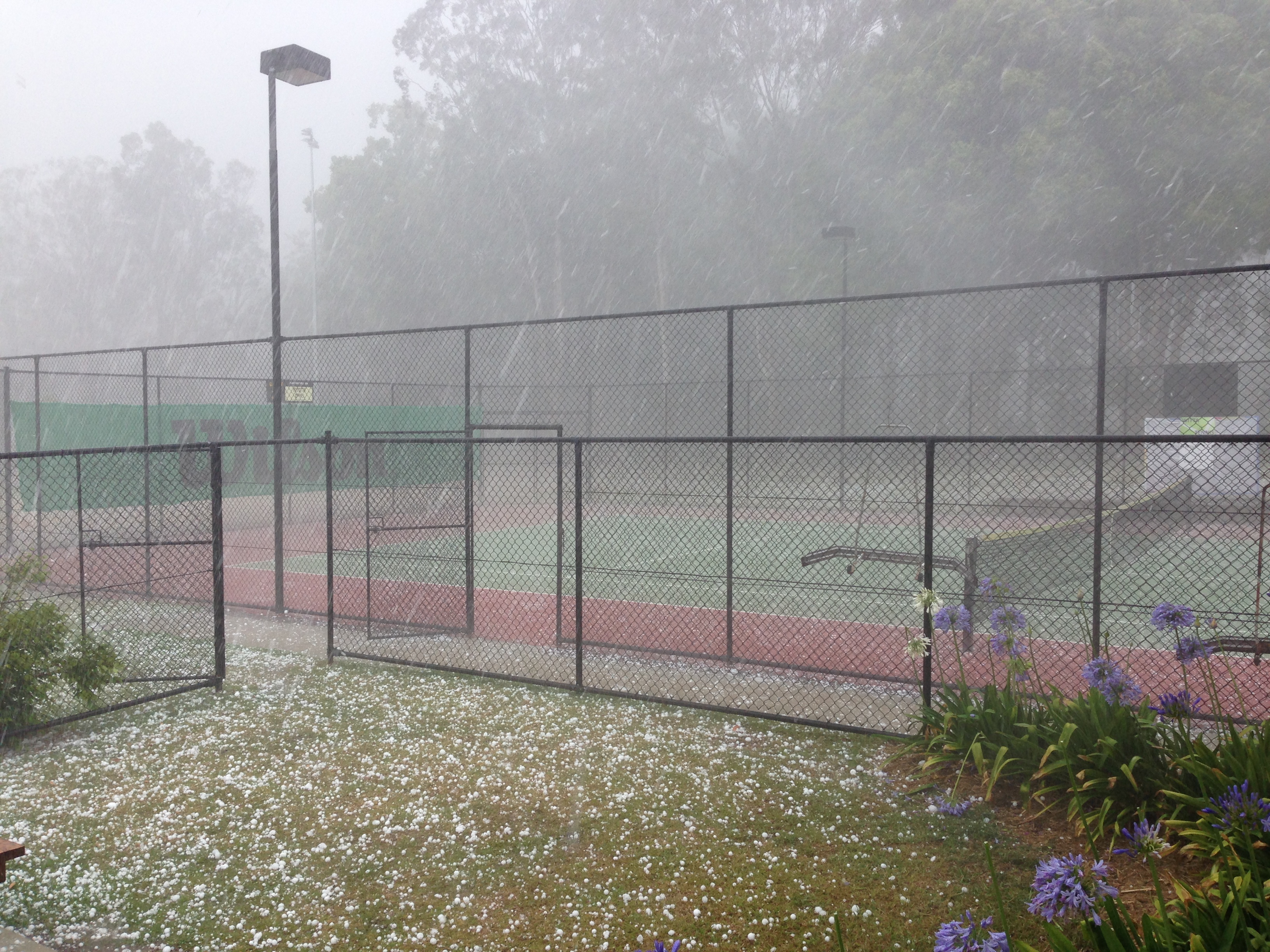 No 3 Hard court with hail