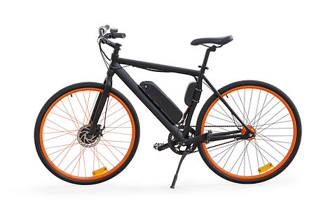 Black electric bike side view. Isolated