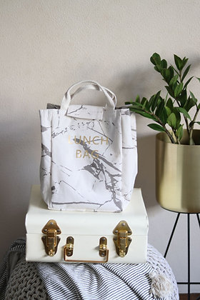 Insulated Lunch Bag - Marble White