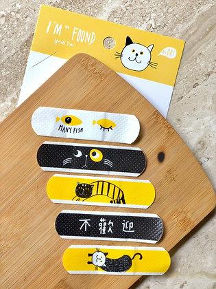 Bandaids - Cat - Black & Yellow - Set of 5