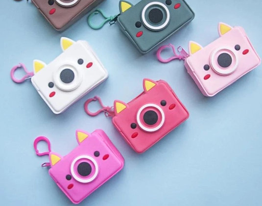 Waterproof Keychain Pouch - Quirky Camera - Pink