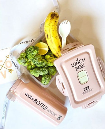 Microwaveable Lunch Box Set with Sipper & a Spork