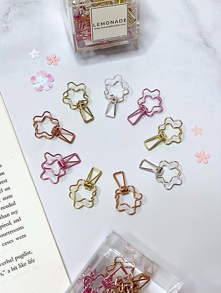 Colourful Metallic Binder Clips - Set of 16 - Flower Power