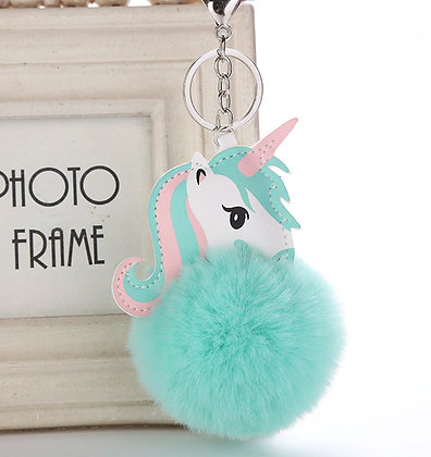 Unicorn Fur Ball Keychain - Sky Blue