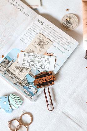 Metallic Paper Clip Bookmark - Travel - Suitcase