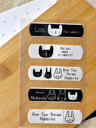 Bandaids - Bunny - Black & White - Set of 5