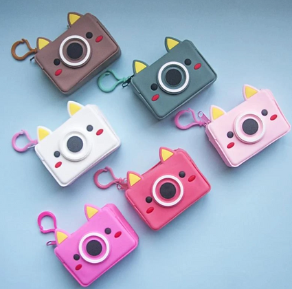 Waterproof Keychain Pouch - Quirky Camera - Light Pink