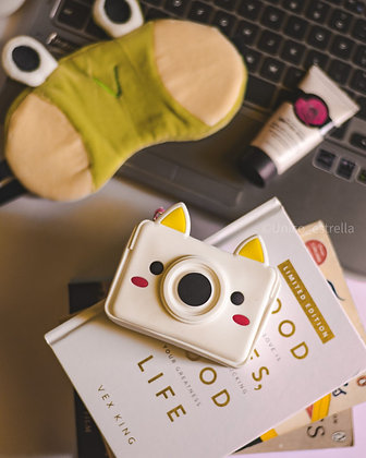 Waterproof Keychain Pouch - Quirky Camera - White