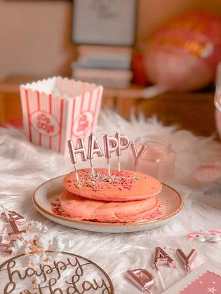 Metallic Happy Birthday Candles -  Pink