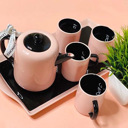 Ceramic Set - Pink Paradise - Set of Tray + Kettle + 4 Coffee Mugs