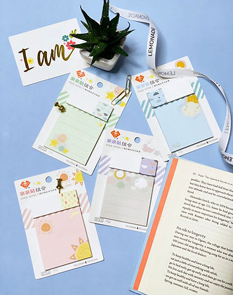 Sticky Notes Set with Bookmark - Pink