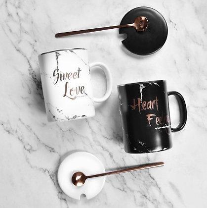 Coffee Mug - Sweet Love with Silver Spoon & lid