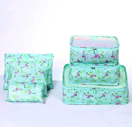 Waterproof Travel Organizer - Flamingo - Set of 6 - Green