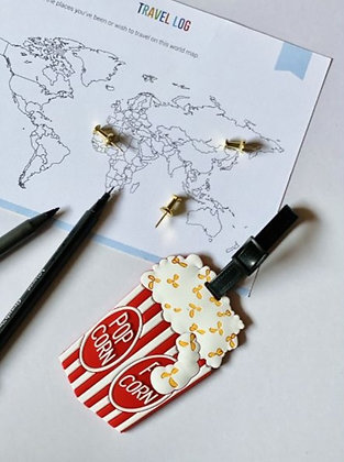 Quirky Travel Luggage Tag - Colourful Popcorn Red