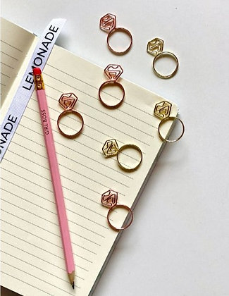 Paper Clips / Bookmark Set of 6 - Diamond Ring - Rose Gold
