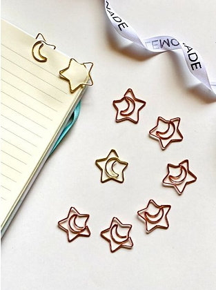 Paper Clips / Bookmark Set of 6 - Shining Star with moon