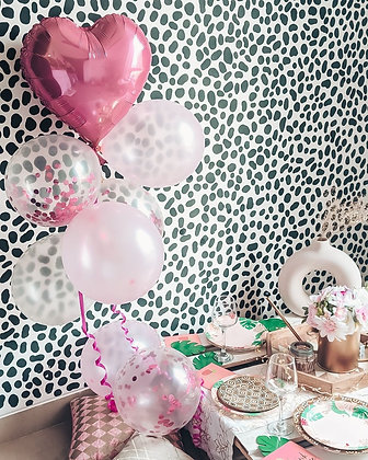 Pink Confetti Balloons - Set of 9