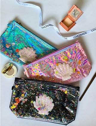 Waterfall Glitter Mermaid Pouch - Black