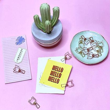 Metallic Binder Clips - Gold & Rose Gold - Kitty Cat - Set of 6