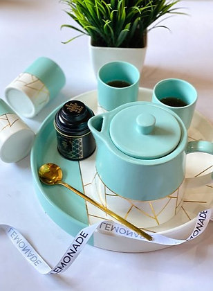 Tea Set - Breakfast at Tiffany - Set of 4 Glasses + Kettle + Circular Tray