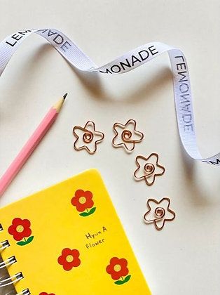 Bookmark/Paper Clips Set of 6 - Flower Power - Rose Gold