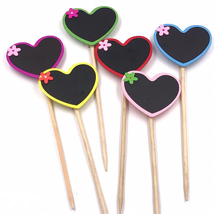 Colourful Message Sticks with Wooden Clips - Set of 2 - Hearts - Yellow