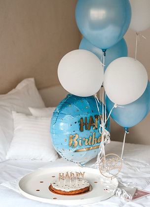 Balloons - Happy Birthday - Blue - Set of 7