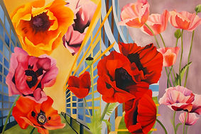 poppies oil art contemporary painting artist toronto