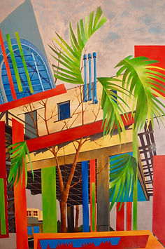 acrylic painting, contemporary art, Toronto artist, nature and architecture