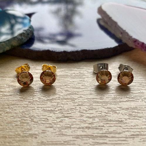 Swarovski oorbellen oranje/geel