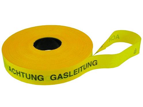 Trassenwarnband, Rollen a 250 Meter, Achtung Gasleitung