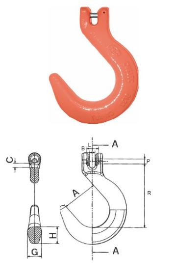 Weitmaulhaken Typ CWH mit Gabelkopfanschluss, Güteklasse 10