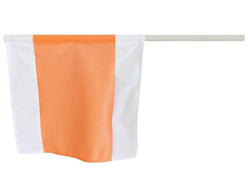 Warnfahne, Warnflagge,  50x50 cm, mit Holzstiel Durchmesser 21 mm