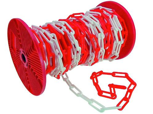 Absperrkette rot/weiß, Kunststoff 6 mm 25 Meter