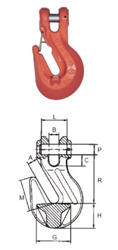 Verkürzungshaken mit Sicherungseinrichtung, Güteklasse 10