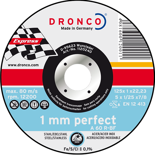 Trennscheiben für Metall, Dronco A60R 1 mm, 125 mm, für Winkelschleifer