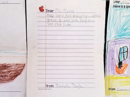 Letters and drawings from students to their teachers