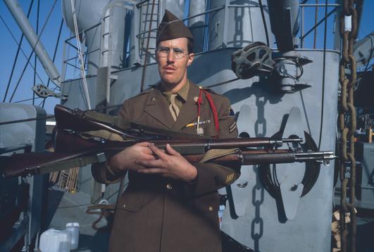 Allan Sekula, 'Man dressed as an American soldier of 1943 aboard the restored cargo ship Lane Victory. Los Angeles hardbor. San Pedro, California. June 1993.'