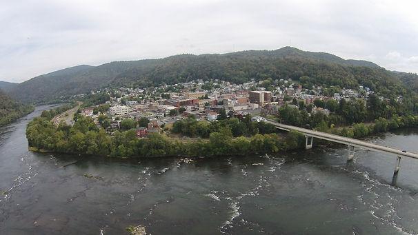 Aerial Shot of Hinton Historic Distrit