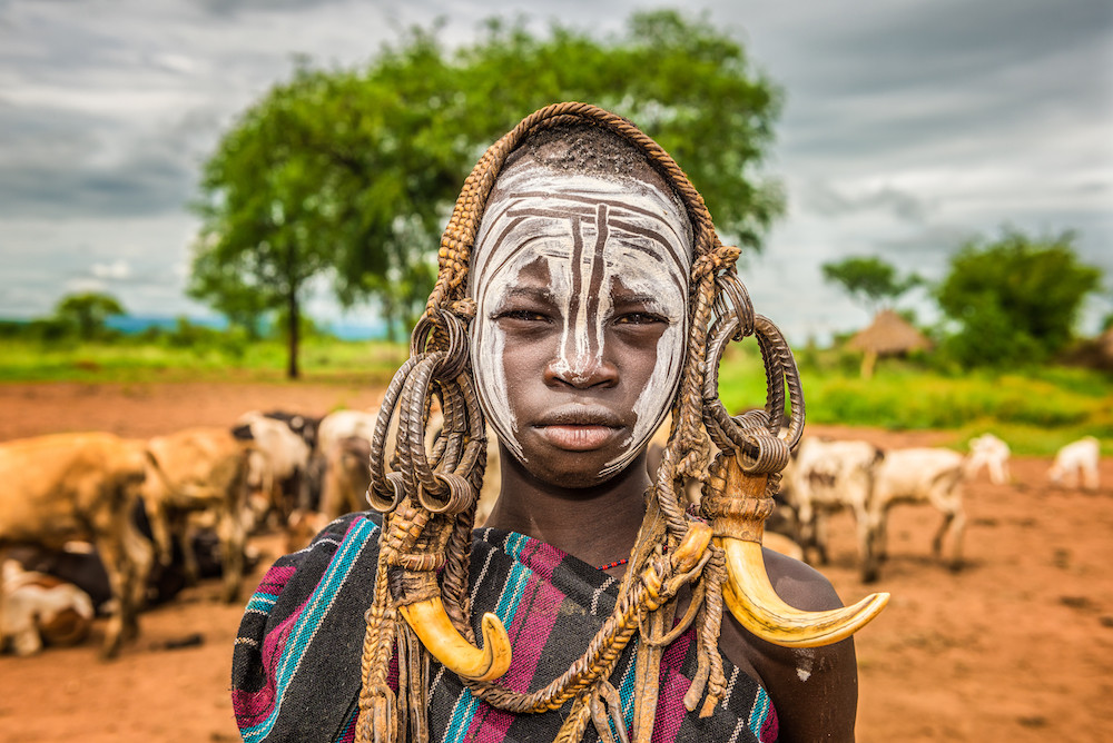 Young Boy from the African Tribe Mursi