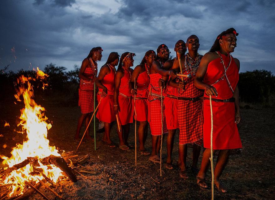 Warriors the Masai tribe dancing ritual