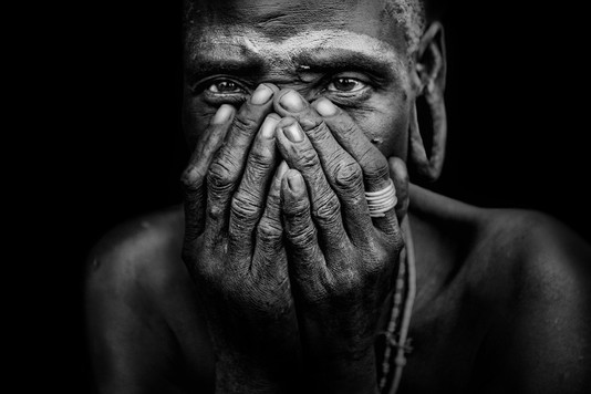 Old Woman from the African tribe Mursi
