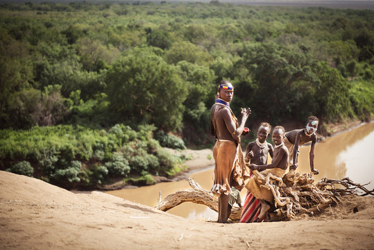 Karo boys in Omo Valley