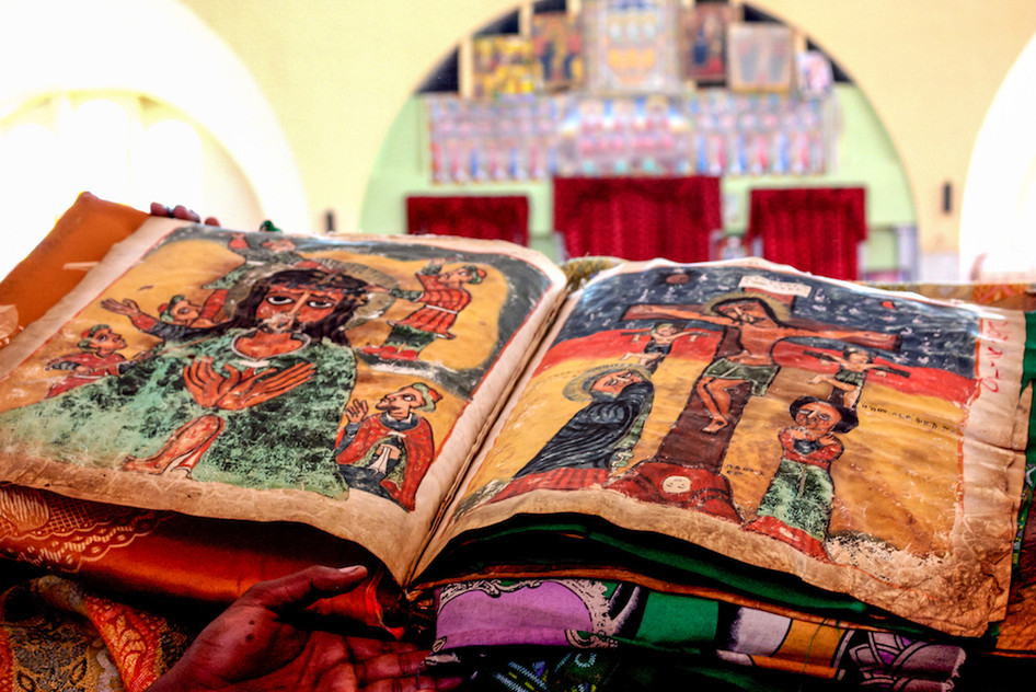 Old holy bible in a church of Aksum