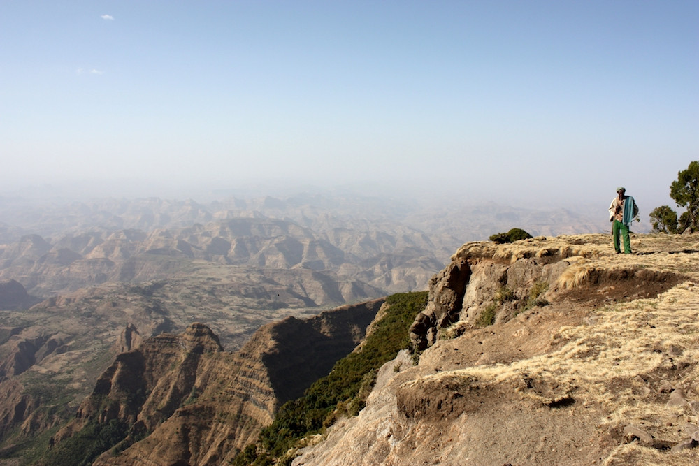 Hiking with a guard in simien mountains