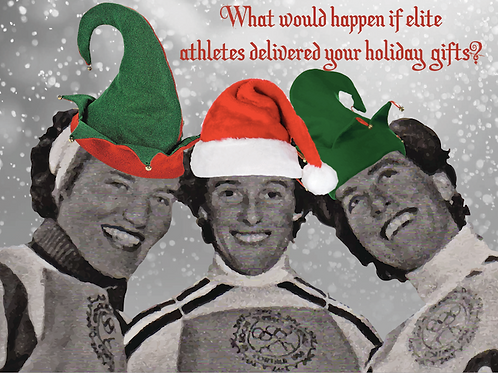 Holiday card - Olympic downhill skiers